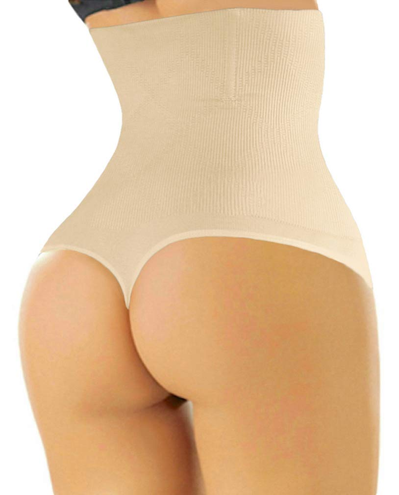 ShaperQueen 102 Thong - Women Waist Cincher Girdle Tummy Slimmer Sexy Thong Panty Shapewear (S, Nude)