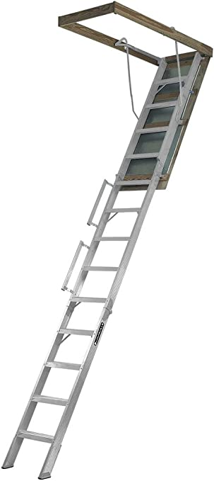 Louisville Ladder Al258p Everest Aluminum Attic Ladder 350 Pound Capacity 25 5 Inch By 63 Inch Opening Ceiling Heights 10 Foot To 12 Foot Extension Ladders Amazon Canada
