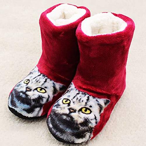 Flop Fur Shoes Soft Women Indoor Ladies Rosso Plush Home Antiscivolo Floor Slides Flip Flippers Spring Mules qa76YqE