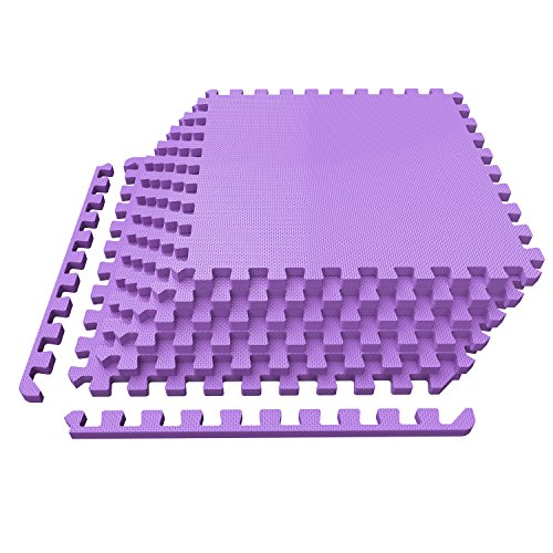 Levoit Puzzle Exercise Mat, Premium EVA Foam Interlocking Tiles, Protective Flooring for Gym Equipment and Cushions for Workouts, 24 SQ FT (6 tiles, 12 borders) (Purple)