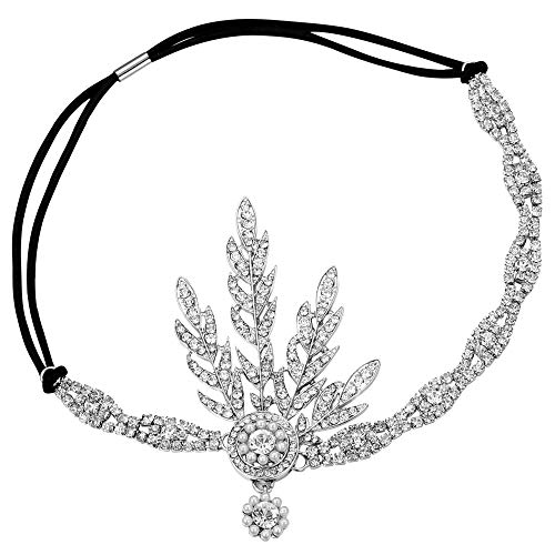 - BABEYOND Art Deco 1920's Flapper Great Gatsby Inspired Leaf Medallion Pearl Headpiece Headband Silver