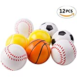 "Mseeur 12 Soft Foam Sports Balls For Kids 2.5"" Perfect for Small Hands Includes 3 Soccer Ball, 3 Basketball, 3 Baseball, and 3 Tennis Ball"