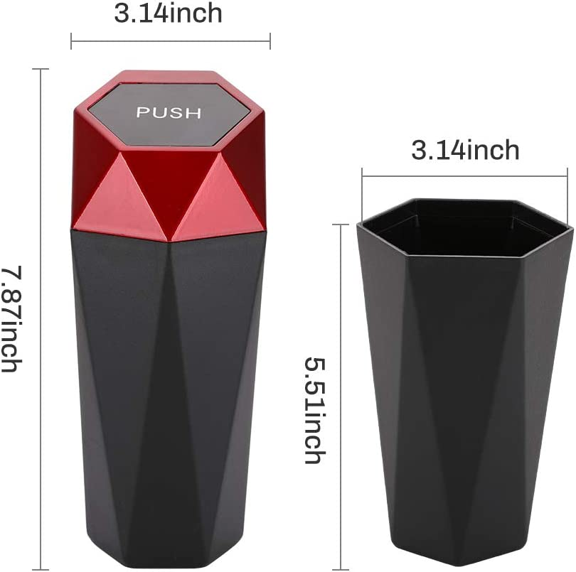 Car Trash Can With Lid 2pcs Office Mini Garbage Bin For Automotive Car Silver New Car Dustbin Diamond Design Bedroom Kitchen Home Leakproof Vehicle Trash Bin Mimbarschool Com Ng