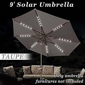 Fuerte camello 9ft al aire libre jardín Patio paraguas Solar luz inclinación de aluminio sombrilla mercado balcón