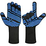 YINENN BBQ Grill Cooking Gloves-Grilling Big Green Egg- Oven Mitts-Fireplace Accessories Welding,Barbecue Gloves Smoker 932°F Heat Resistance-13.5''L-Blue