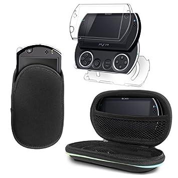 G-HUB® - Delux Bundle de Accesorios para Sony PSP GO (Incluye: 1x Transparente Crystal Case Caja de la Placa Frontal & Trasero y 1x Funda Slip Pouch ...