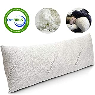 EnerPlex Never-Flat Body Pillow, CertiPUR-US Certified Adjustable Shredded Memory Foam Luxury Body Pillow, Machine Washable, Bamboo Cover, 54x20 Lifetime Promise, Will Not Go Flat