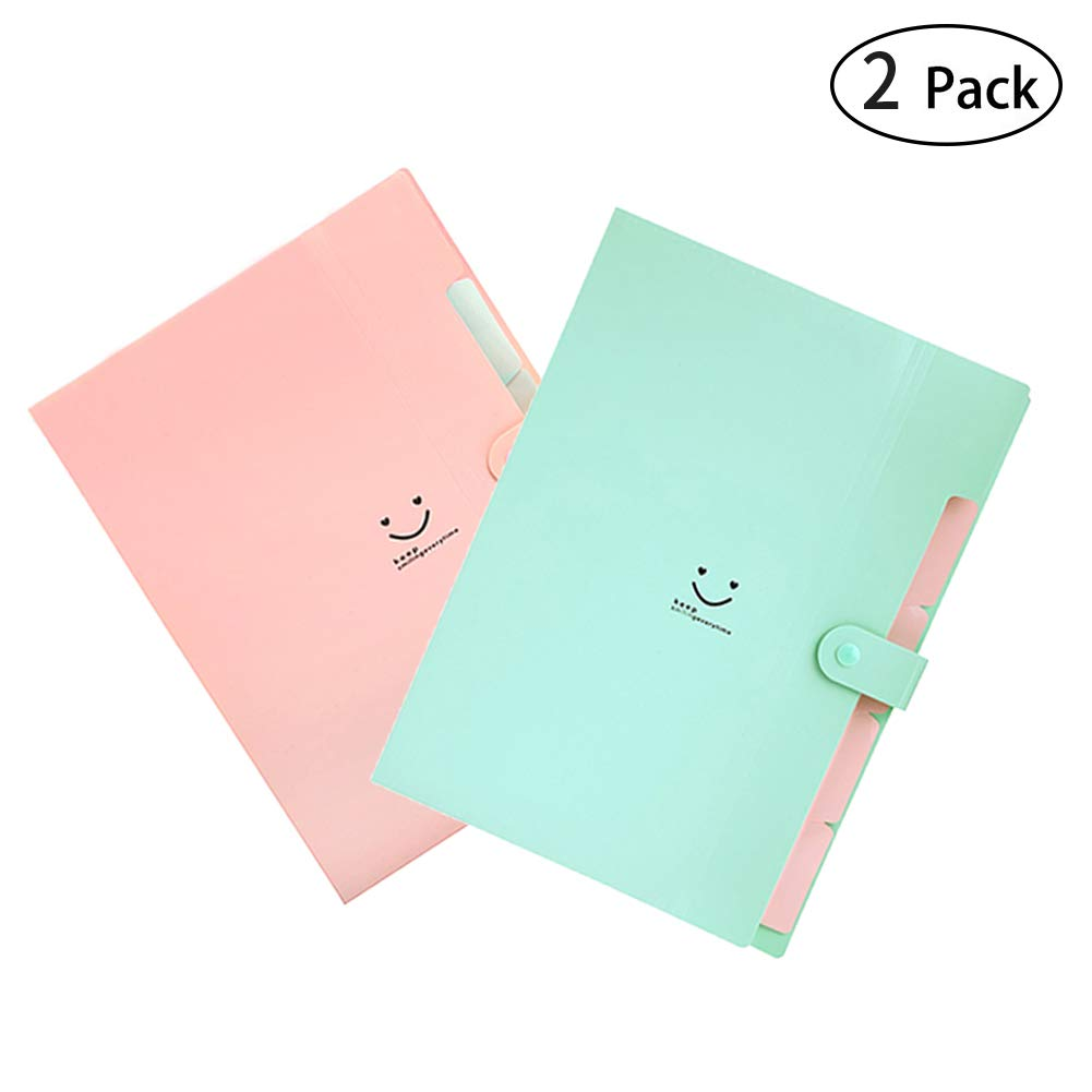 Letter A4 Size Paper Expanding File Folder Pockets Cute Accordion Document Organizer with Snap Closure for School and Office (2 Color)