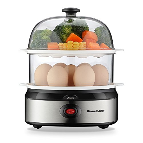 Homeleader Egg Cooker, 360W Egg Maker, Electric Egg Boiler with Steamer Bowl and Measuring Cup, 14 Eggs Capacity, Automatic Shut Off, K08-009