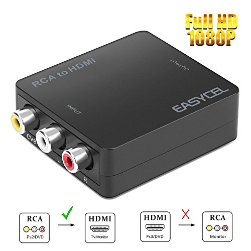 Watch Dvds Ps2 - Easycel 1080P Mini RCA Composite CVBS AV to HDMI Converter Adapter Supports 720P/1080P Switch and PAL/NTSC input for PS2 Nintendo N64 Nintendo Wii Laptop Xbox PS4 PS3 TV STB VHS VCR Camera