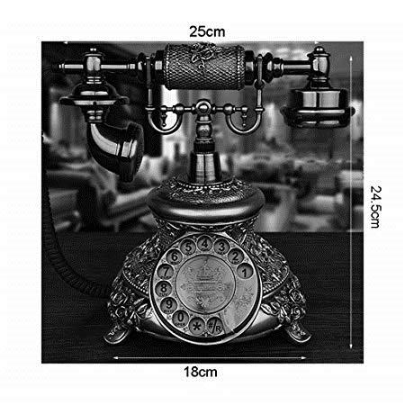 Retro Phone Telephone Wired Dial Fixed Telephone Home Landline Rotating European Retro Dial White Bronze Telephones (Color : 2, Size : B)