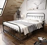 TEMMER Metal Bed Frame Queen Size with Headboard and Footboard Single Platform Mattress Base,Metal Tube and Iron-Art Bed Gray Silver.