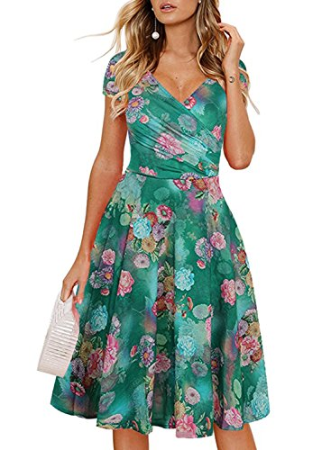 - Ranphee Floral Summer Dresses for Women Vintage Cap Sleeve V Neck Casual Cocktail Work Dress