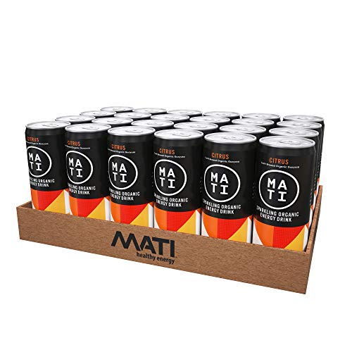 (MATI Sparkling Organic Energy Drink, All Natural Craft Brewed Guayusa, 40 Calorie, Refreshing Not Sweet, Citrus, 12 Fl Oz Cans (Pack of 24))