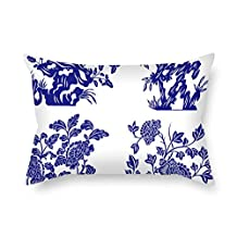 Chinese Style Blue And White Porcelain Pillow Cases 16 X 24 Inches / 40 By 60 Cm Best Choice For Kitchen Couch Bar Seat Drawing Room Son Floor With Double Sides