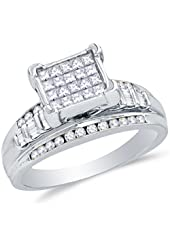 925 Sterling Silver Princess Cut, Round & Baguette Diamond Engagement Ring - Invisible Set Emerald-Shape Center Setting with Channel Set Side Stones (.36 cttw.)