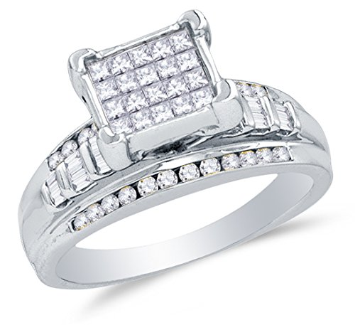 Size 9 - 925 Sterling Silver Princess Cut, Round & Baguette Diamond Engagement Ring - Invisible Set Emerald-Shape Center Setting with Channel Set Side Stones (.36 cttw.)