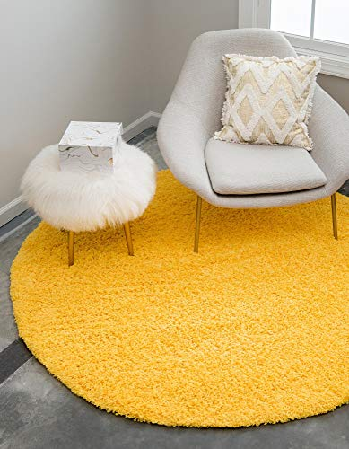Unique Loom Solo Solid Shag Collection Modern Plush Tuscan Sun Yellow Round Rug (8' 2 x 8' 2)