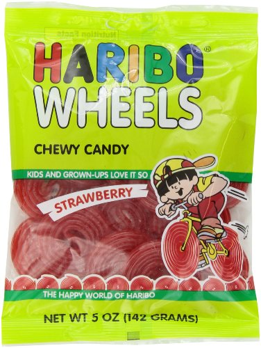 Haribo Gummi Candy, Strawberry Wheels, 5-Ounce Bags (Pack of 12)