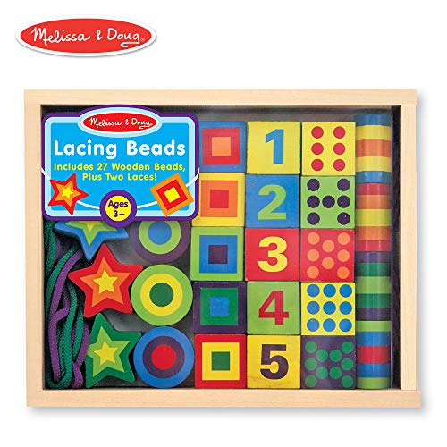 Melissa & Doug Wooden Lacing Beads in a Box (Developmental Toys, Easy to Assemble, 27 Beads and 2 Laces, 9.65″ H × 7.55″ W × 1.45″ L)