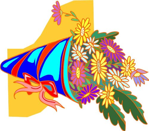 Cone of Colorful Daisy Flowers with Bow - Etched Vinyl Stained Glass Film, Static Cling Window ()