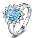 Aokarry - S925 Silver Sterling Simple Engagement Rings for Womens Blue Created-Topaz December Birthstone