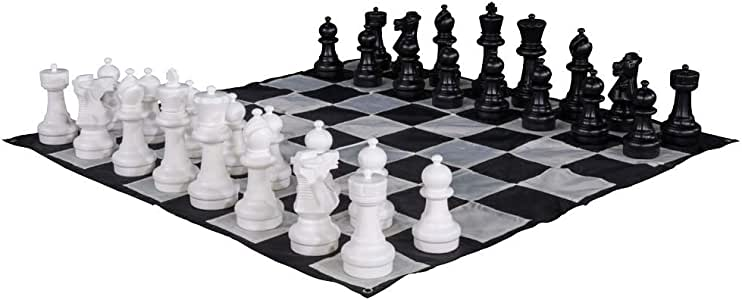 "Outdoor Giant Waterproof Chess Set w// 12/"" Tall King ַ/& Giant Chess Mat Game Fun"