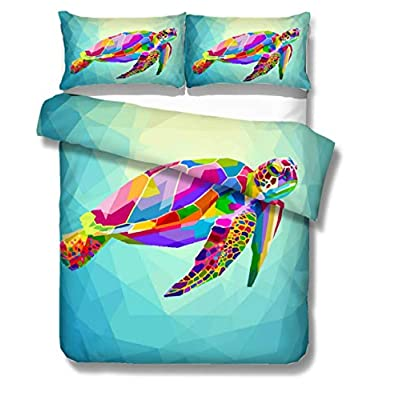 Turtle Boy/Kid Bedding Set 3D Digital Geometric Pink/Blue/Yellow/Purple Rainbow Colored Sea Turtle 3 Pieces Blue Duvet Cover Set (Sea Turtle-Blue,US Twin): Home & Kitchen