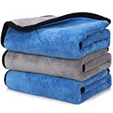 Happy Road Car Drying Towel, Microfiber Cleaning Cloth Lint Free, Premium Professional Soft Microfiber Towel, 16' x 16' Super Absorbent Towel for Car/Windows/Screen, Pack of 3