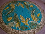 Kauhale Living Hawaiian Tropical Fabric Tablecloth (Hawaiian flower) Teal (70'' round)