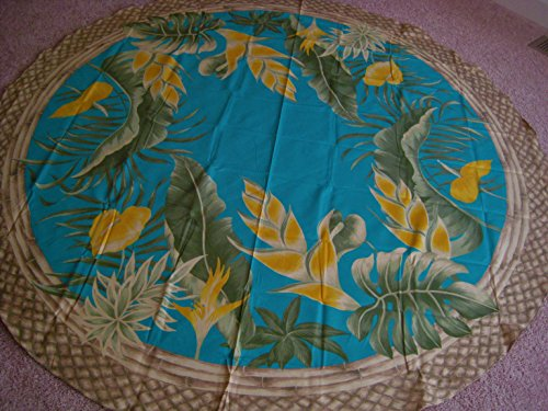 Kauhale Living Hawaiian Tropical Fabric Tablecloth (Hawaiian flower) Teal (70'' round) by Kauhale Living