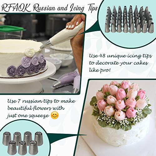 100 Pcs Cake Decorating Kit with Aluminum Metal Turntable-Rotating Stand-Cake server & knife set-48 Numbered Icing tips-7 Russian Piping nozzles-Straight & Angled Spatula-Cake Leveler& Baking supplies by RFAQK (Image #4)