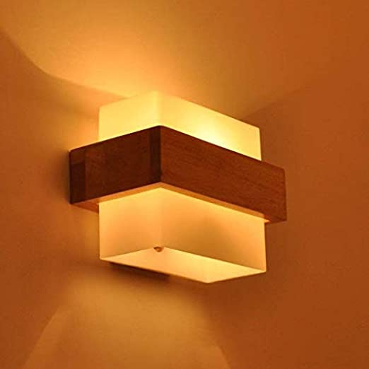Lámpara Lámpara de pared LED de madera para interiores sala de estar dormitorio escalera pasillo lámpara de pared iluminación interior: Amazon.es: Iluminación