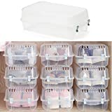 4 PCS Storage Containers Clear Shoe Box Set with blue Buckle