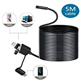 USB Endoscope, OCDAY 3 in 1 Smartphone USB Endoscope Inspection Camera, Android OTG 5M Waterproof Snake HD Video Microscope Camera Endoscope Borescope With 6 Led Lights Security Cable (5M)