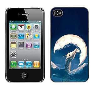 GOODTHINGS Funda Imagen Diseño Carcasa Tapa Trasera Negro Cover Skin Case para Apple Iphone 4 / 4S - Luna arte queso bola jirafa pintura amarilla