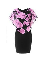 Ruffles Mini Dress Womens Hip Dress Casual Plus Size Rose Print Chiffon O-Neck