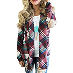 LisYOU Women's Plaid Print Hooded Casual Thin Windbreaker Jacket(M,Red)