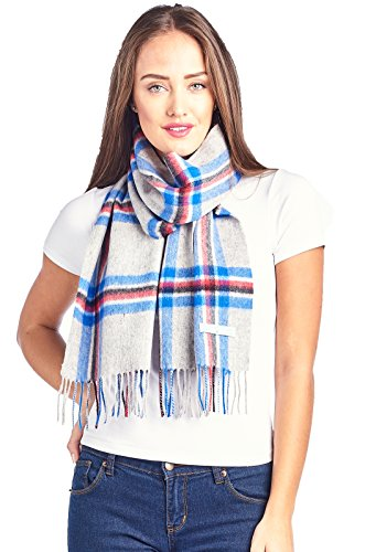 (Mariyaab 100% Lambswool wool Men and Women Plaid Pashmina Scarf (911069, GreyBlue))