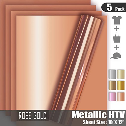 Rose Gold Metallic Foil HTV Heat Transfer Vinyl for Tshirt and Apparel 12'' X 10''(Pack of 5), Easy to Weed and Iron on, Guaranteed Size by Tvinyl Warehouse