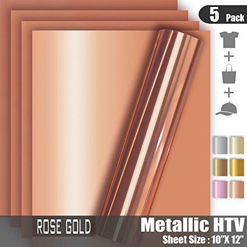 Rose Gold Metallic Foil HTV Heat Transfer Vinyl for Tshirt and Apparel 12