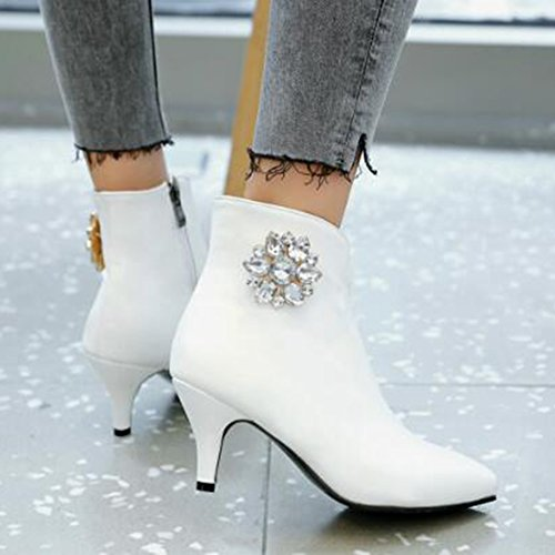 Easemax Strass À La Mode Des Femmes Bout Pointu Mi Chaton Talon Glissière Latérale Bottes Blanc