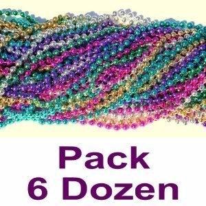 Toy / Game 33 Inch 07mm Round Metallic Purple, Green, Gold, Hot Pink, Silver And Blue Mardi Gras Beads - 6 Dozen]()