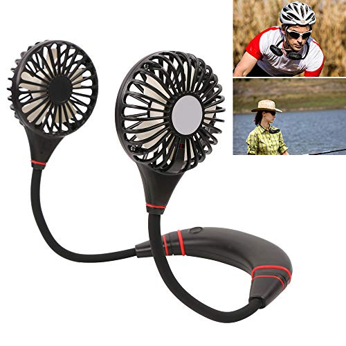 Portable USB Rechargeable Battery Mini Hand Free Fan - Headphone Design Wearable Neckband Fan Necklance Fan Cooler Fan with Dual Wind Head - Fan for Home, Office, Travel, Camping ()