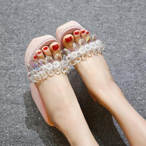 LvYuan femmes haut Talon Pantoufles sandales Base compensé pour d'été confort talon white étanche décontractées strass épaisse Chaussures plateforme rqq6t