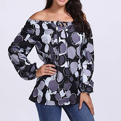 Shirt paules Manches Innerternet T Lache Noir Blouse Imprim Dnudes Chemise toile Femmes Longues Casual Imprime Dot R0xHI70w