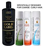 Gold Label Professional Brazilian Keratin Blowout Hair Treatment Designed for Coarse, Curly, Black, African, Dominican, and Brazilian Hair Type 1000ml Set 4 Bottles Keratina Brasilera Chocolate