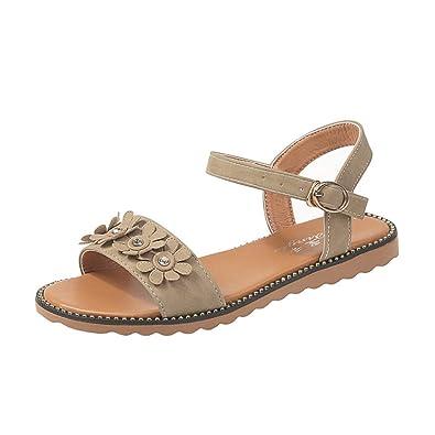 66c154949a6a Fashion Women Hot Sweet Summer Bohemia Flower Simple Slippers Flat Beach  Sandals Beige