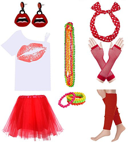 Women Sexy Lips Off Shoulder Shirt with Color Tutu Skirt Complete Costume Outfit (XXL, White-Red)]()