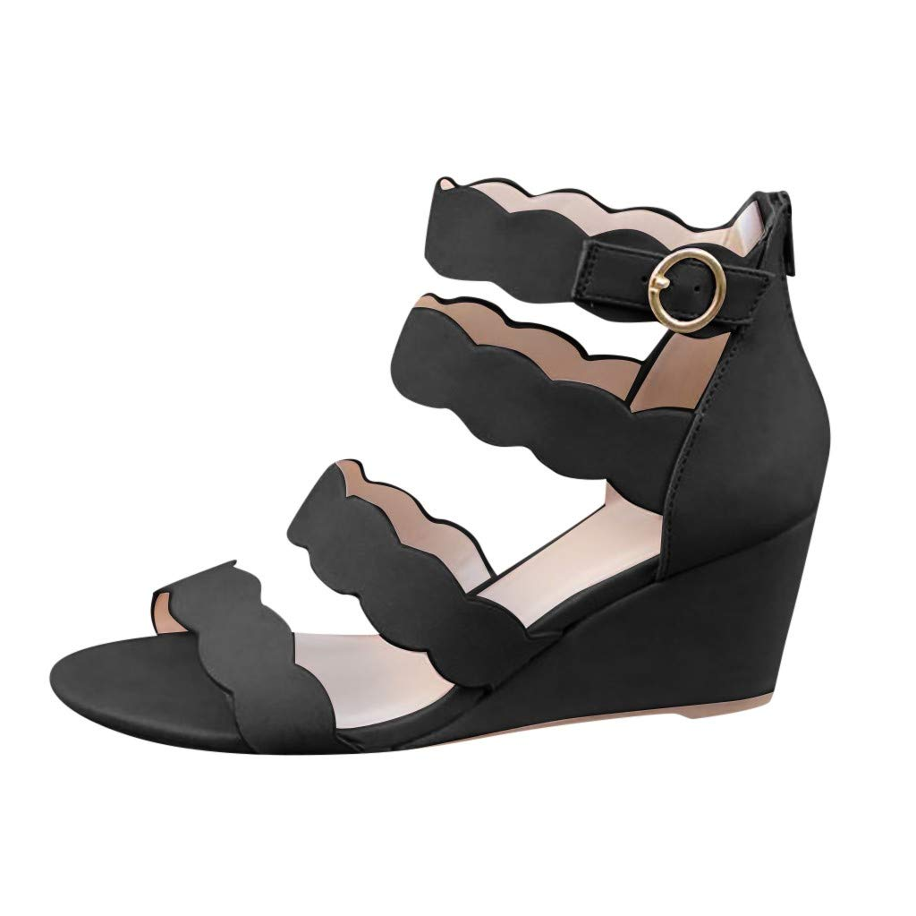 Sandals for Women THENLIAN Casual Hollow Bohemian Lace Wedges with Open Toe Buckle Ankle Sandals(40, Black)